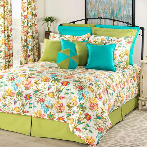 Reef Jubilee Comforter Set with 15 Inch Drop Bedskirt - King