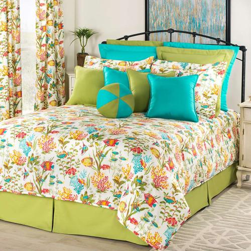 Reef Jubilee Comforter Set with 18 Inch Drop Bedskirt - Queen