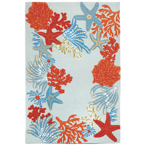 Blue and Coral Stars Indoor/Outdoor Rug Collection