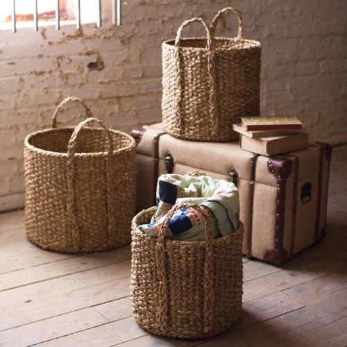 Round Braided Seagrass Storage Basket with Handles - Set of 3