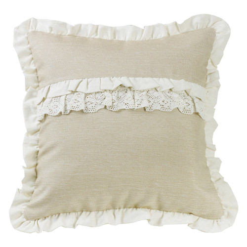 Ruffle and Lace Accent Pillow - OVERSTOCK
