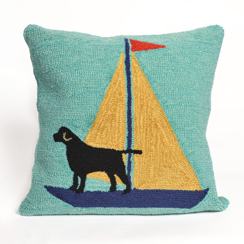 Sailing Dog Yellow Indoor/Outdoor Pillow