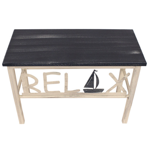 """24"""" Plain Wooden Top Relax Bench w/Sailboat Accent"""