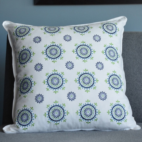Santa Monica Square Pillow - All Over Medallion Embroidery