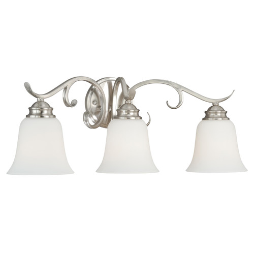 Scroll 3 Light Vanity Lamp - Satin Nickel