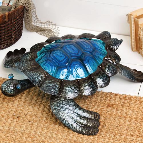 Sea Turtle Glass & Metal Sculpture