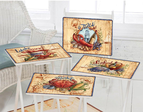 Seafood Feast TV Tray Set with Stand - Set of 4