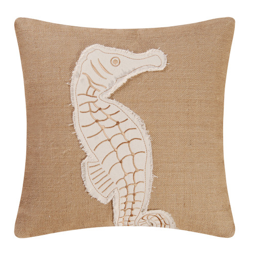 Seahorse Burlap Embroidered Pillow