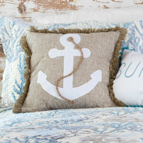 Seascape Coral Anchor Pillow