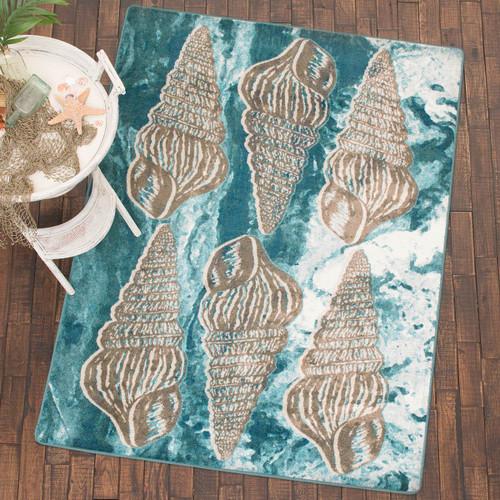 Seashell Impressions Blue Rug - 5 x 8 - OVERSTOCK