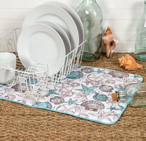 Seashells Countertop Drying Mat