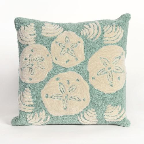 Shell Toss Aqua Indoor/Outdoor Pillow