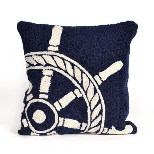 Ship Wheel Navy Indoor/Outdoor Pillow