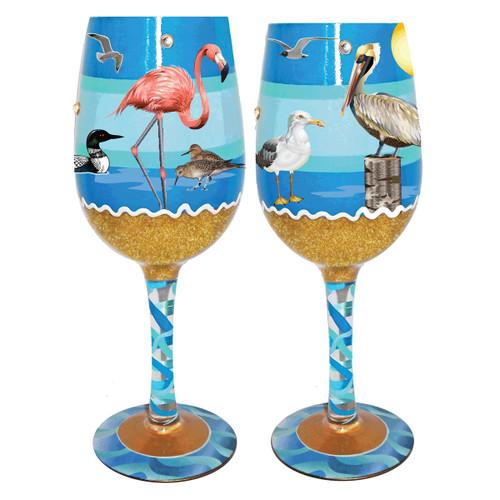 Shore Birds Wine Glasses - Set of 4