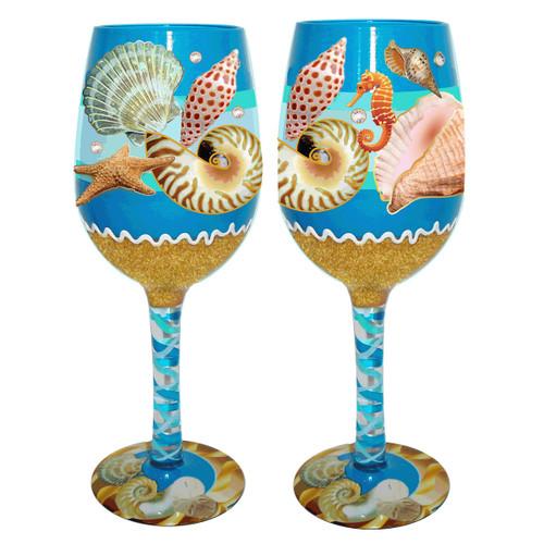 Shoreside Shells Wine Glasses - Set of 4