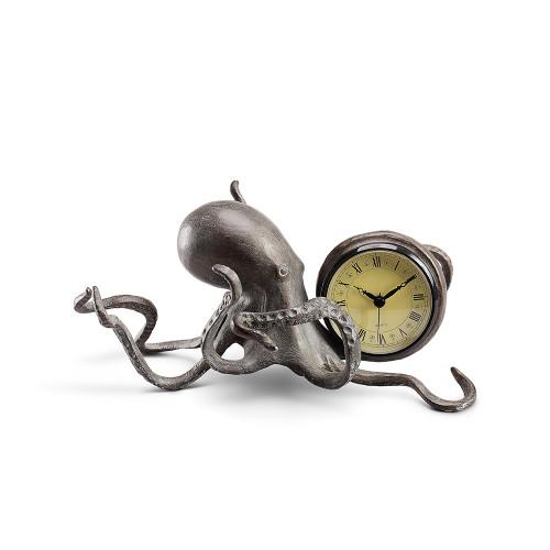 Silver Octopus Desk Clock