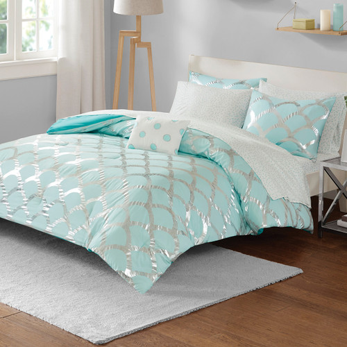 Silver Scallop Comforter Set - Twin XL - OVERSTOCK