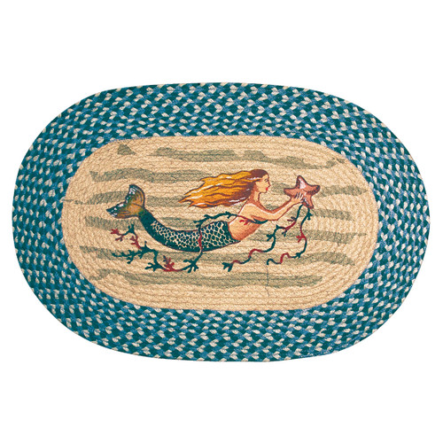 Single Mermaid Oval Patch Rug