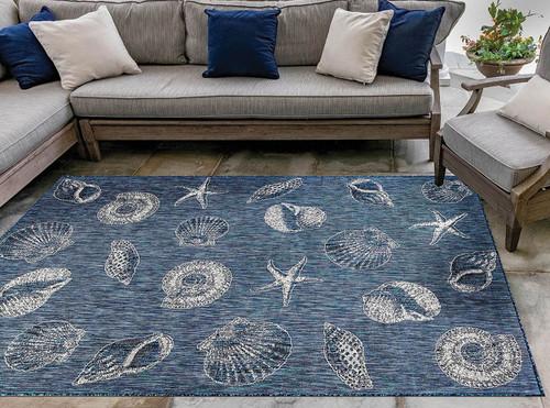 Antigua Shells Navy Indoor/Outdoor Rug Collection