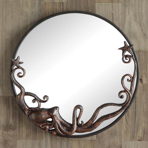 Sprawling Octopus Round Mirror