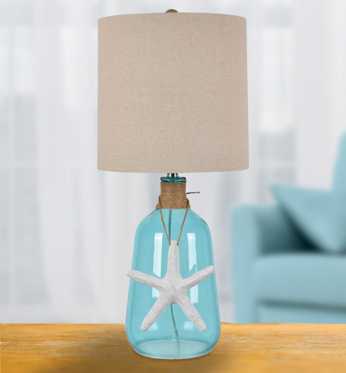 Starfish & Twine Glass Table Lamp