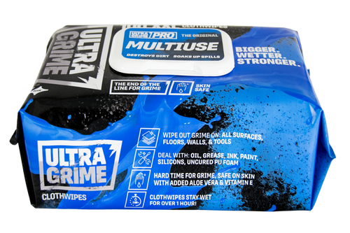 For whatever the jobs calls for, UltraGrime® Pro Multiuse wipes will be there to clean up the mess. This special formula is designed to handle any and all messes no matter your line of work. Whether you need to clean up oil, grease, ink, paint, silicones, or uncured PU foam, reach for your UltraGrime® Pro Multiuse Clothwipes to handle it.  The beauty is in the cloth-like feel and form that won't rip or deteriorate during use. Plus, these wipes stay wetter and usable for longer than any other wipe, so you can go from one mess to the next with ease. Forget about costly cleansing solutions and wimpy paper towels and go for the wipes made to do it all.