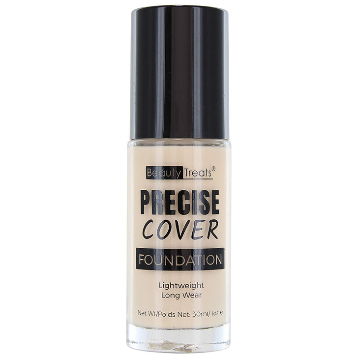 Beauty Treats Precise Cover Foundation has pump to dispense foundation. Available in 5 shades.