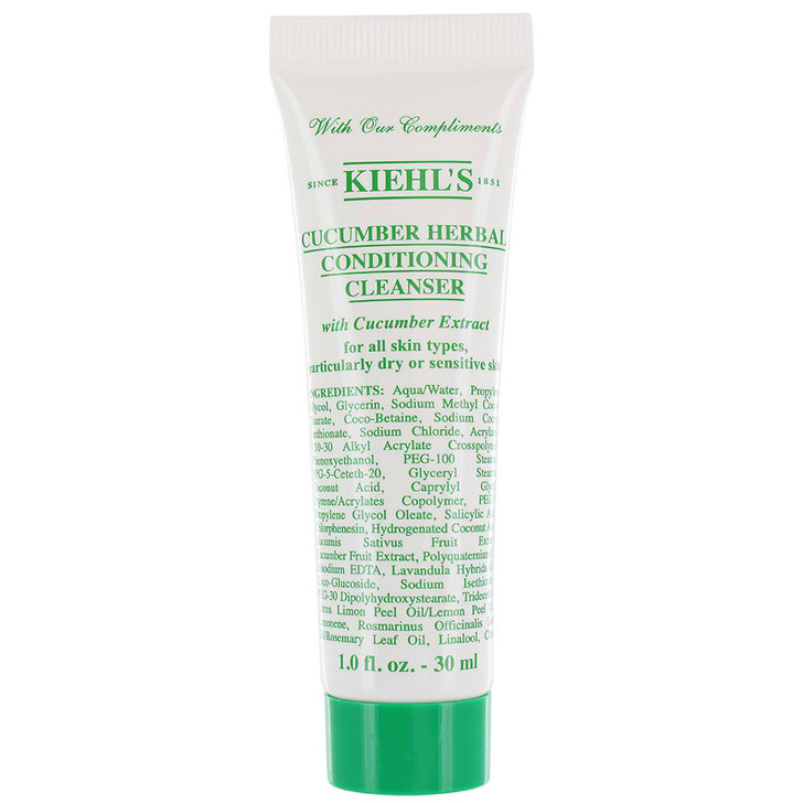 Kiehl's Cucumber Herbal Conditioning Cleanser 30ml - Gentle face wash formulated for all skin types. Removes impurities while conditioning to leave your skin feeling fresh. Applies as a gel, transform to a light foam. Works well on all skin types, particularly dry and/or sensitive skin. Contains Cucumber Extract to soothe and calm sensitive skin, Gllycerin to help retain moisture.