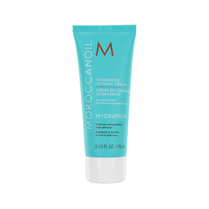 Moroccanoil Hydrating Styling Cream - Travel Size Moisture rich styling cream hydrates and smooths frizzy hair.  Infused with Argan Oil, this hair styling cream adds shine and definition with a soft, gentle hold.