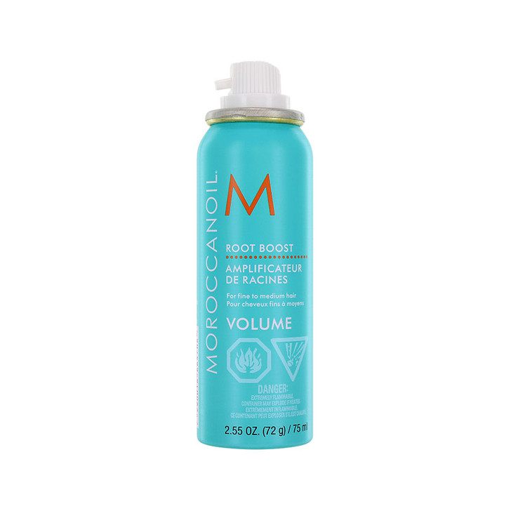 Moroccanoil Root Boost Volume - Travel Size. Root boosting spray lifts hair roots providing full body volume. Contains Argan Oil which is rich in antioxidants to help protect and strengthen hair. Provides long-lasting body, helps to control static, and provides a natural looking finish. Simply spray on towel-dried hair roots and blow-dry with a round brush while lifting hair up and away from the scalp.
