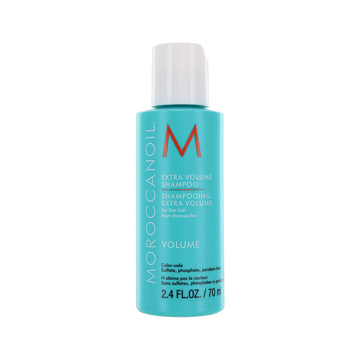 Moroccanoil Extra Volume Shampoo - Travel Size. Gentle shampoo adds volume to fine hair creating healthy, shiny hair with body. Contains anti-oxidant rich argan oil. Sulfate-free, phosphate-free, paraben-free. Safe to use on color treated hair.