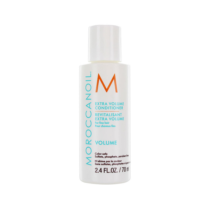 Moroccanoil Extra Volume Conditioner - Travel Size. Gently detangles hair and adds volume. Provides body and shine to fine hair for manageability. Does not weigh hair down. Contains anti-oxidant rich argan oil. Sulfate-free, phosphate-free, paraben-free. Safe to use on color treated hair.