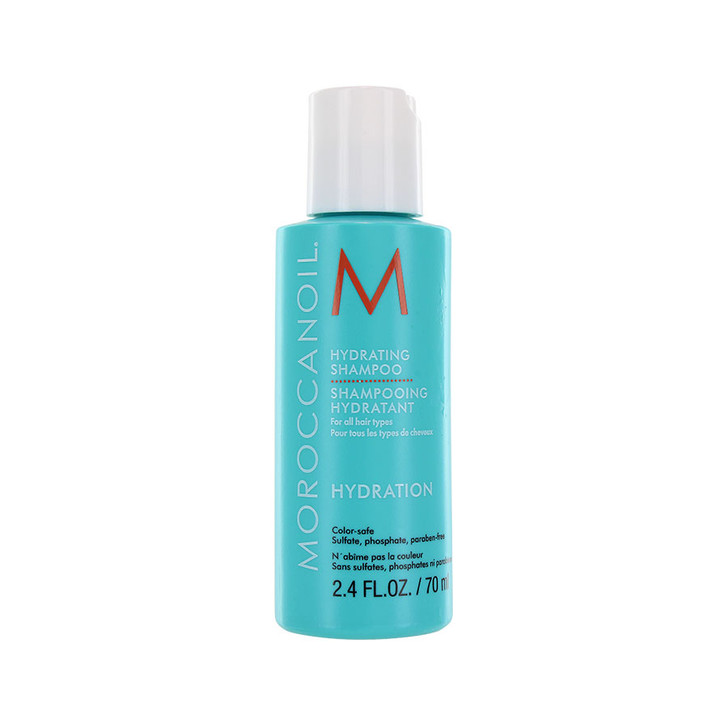 Moroccanoil Hydrating Shampoo - Travel Size. Extra hydrating shampoo gentle enough for every day use.  Contains anti-oxidant rich argan oil,  Vitamins A & E, as well as red algae for moisture retention.  Sulfate-free, phosphate-free, paraben-free. Safe to use on color treated hair.