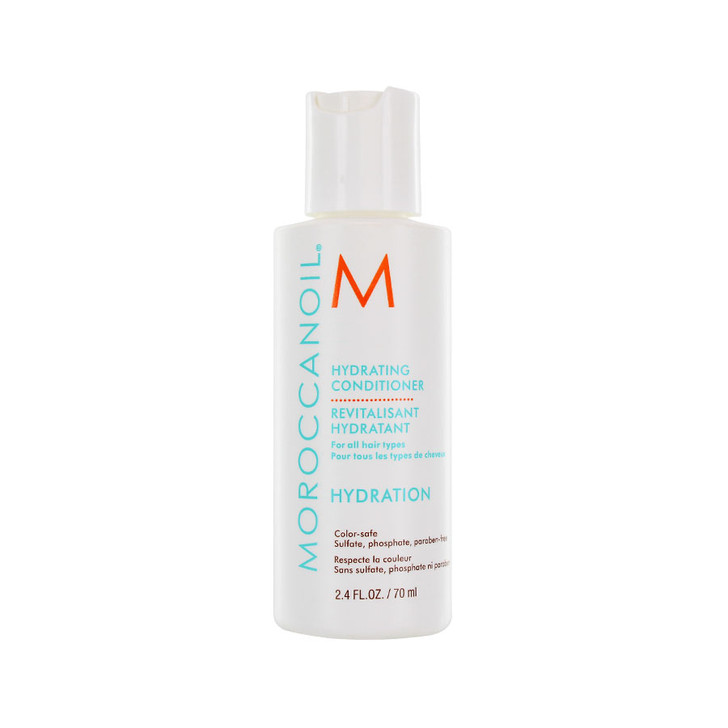 Moroccanoil Hydrating Conditioner - Travel Size. Extra hydrating conditioner gentle enough for every day use.  Contains anti-oxidant rich argan oil,  Vitamins A & E, as well as red algae for moisture retention.  Sulfate-free, phosphate-free, paraben-free. Safe to use on color treated hair. For all hair types.