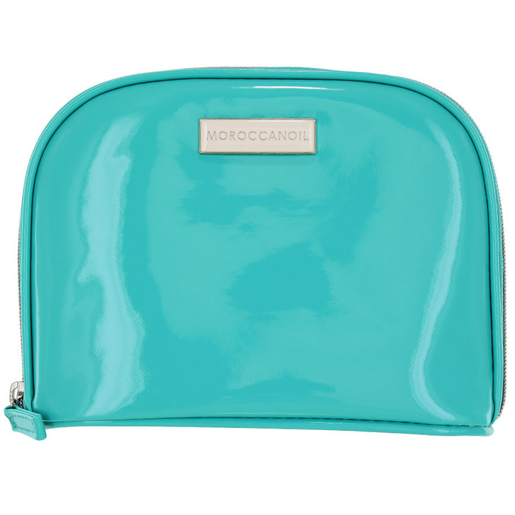 """Moroccanoil Cosmetics Bag. Roomy, durable, easy clean teal cosmetics bag. Zipped bag opens wide for easy access. 100% polyester. 8""""L x 2""""W x 6""""H"""