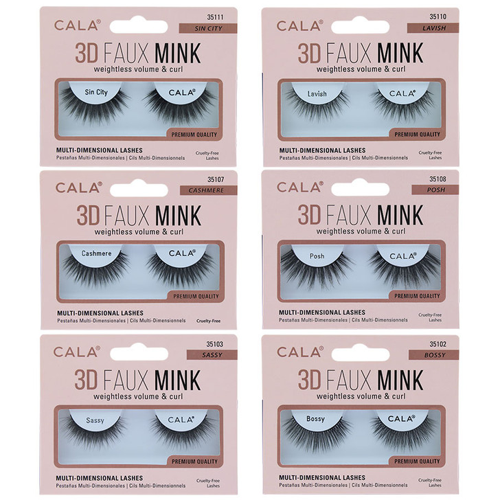 Cala 3D Faux Mink Lashes - Weightless Volume and Curl  Reusable Easy to Apply Light & Soft Cruelty Free Contact Lens Friendly