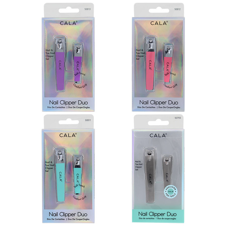 Cala Nail Clipper Duo Sets available in orchid, coral, mint or silver