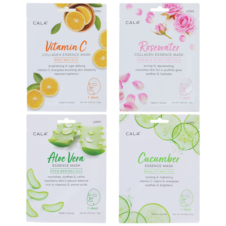 Cala Essence Face Masks in your choice of Aloe Vera, Cucumber, Rosewater, or Vitamin C.