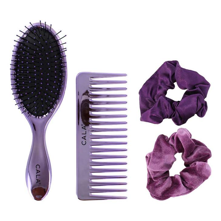 4 pc Metallic Brush, comb and hair scrunchies set