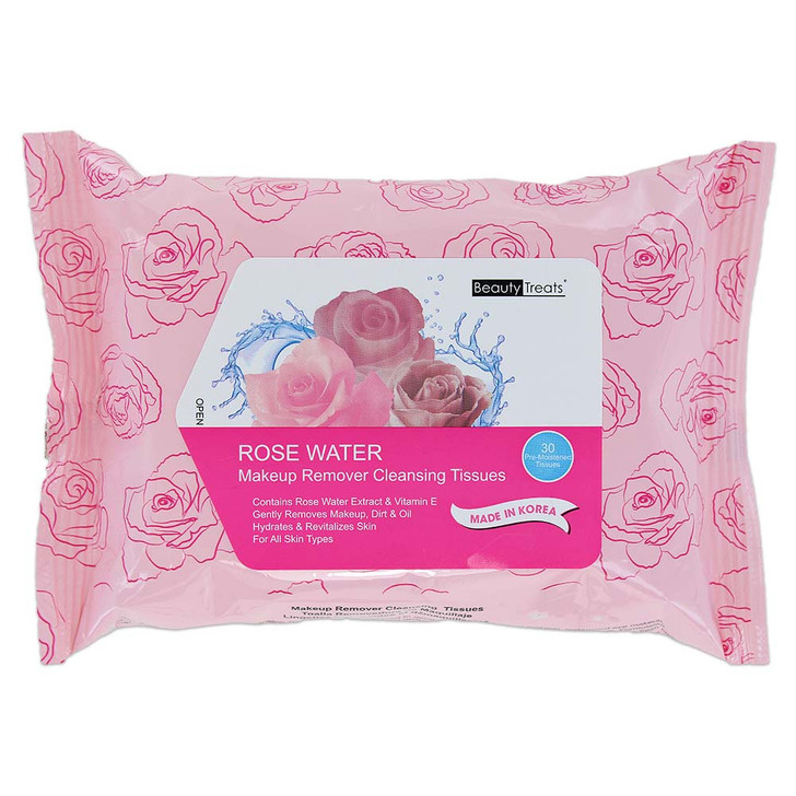Beauty Treats Makeup Remover Cleansing Tissues - Rose Water