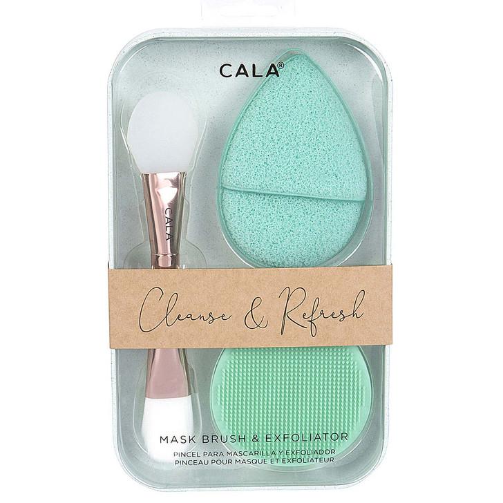 Cala Cleanse & Refresh Mask Brush & Exfoliator Set