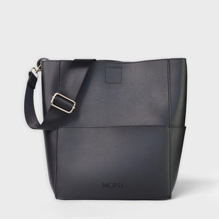 Mersi Demi Bucket Bag in black with solid strap