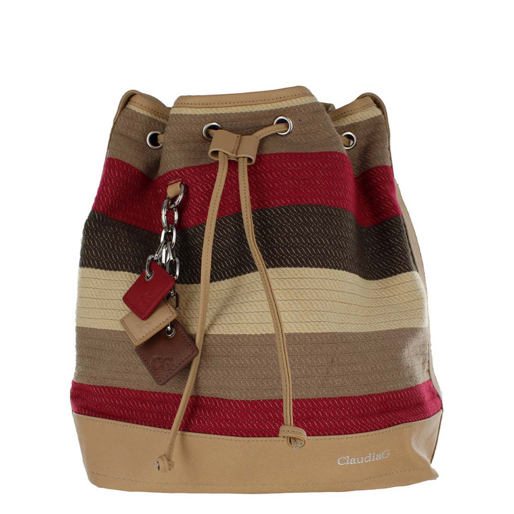 ClaudiaG Lola Pull Bag in Cabernet Stripe