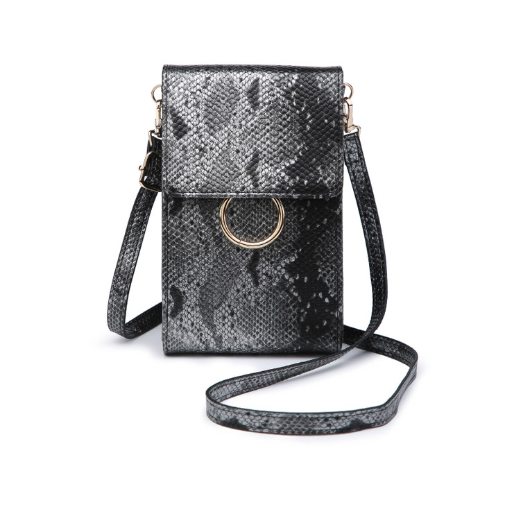 Jen & Co Ayla Touch-Sensitive Cell Phone Bag in python gunmetal