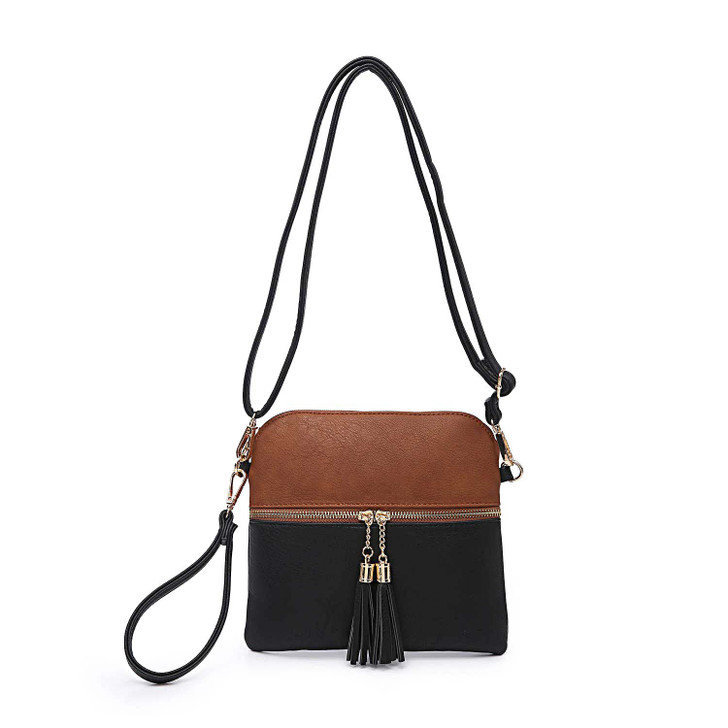 Jen & Co Tara 2-Tone Crossbody in black brown