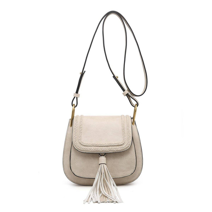 Jen & Co Banks Braided Trim Crossbody in ivory
