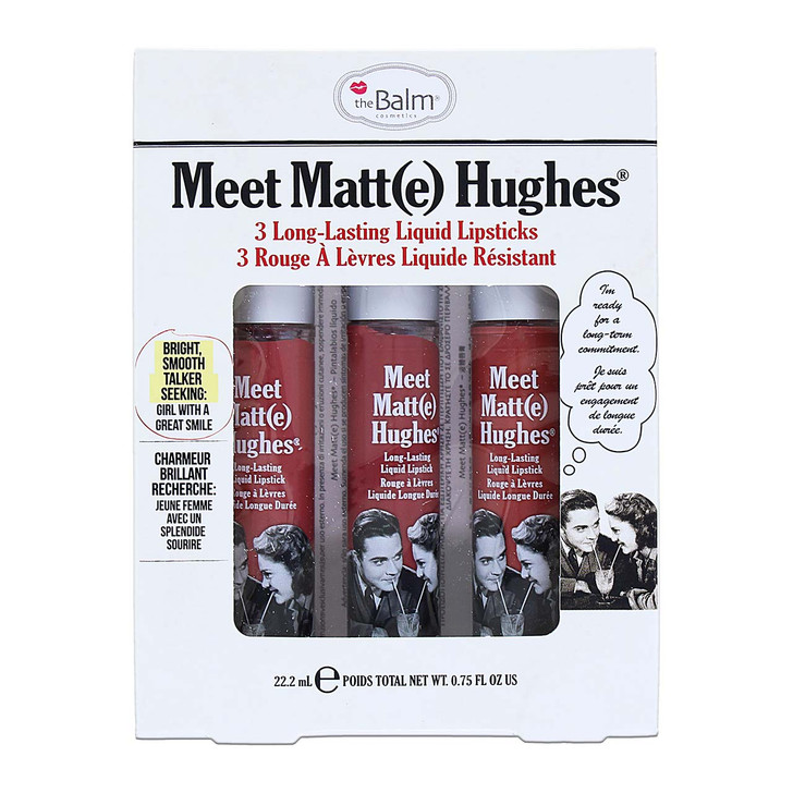 theBalm Meet Matt(e) Hughes 3-pc Lip Kit includes 3 full size liquid lipsticks in the shades Sincere, Committed and Charming.