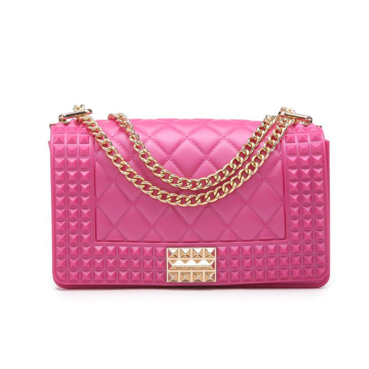 Jen & Co Studded Clutch Jelly Bag with gold Chain