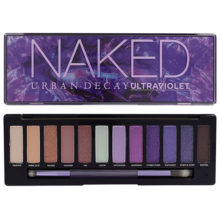 The Naked Ultraviolet palette features 12 purple, peach and neutral eyeshadows in matte, shimmer, and glitter finishes.