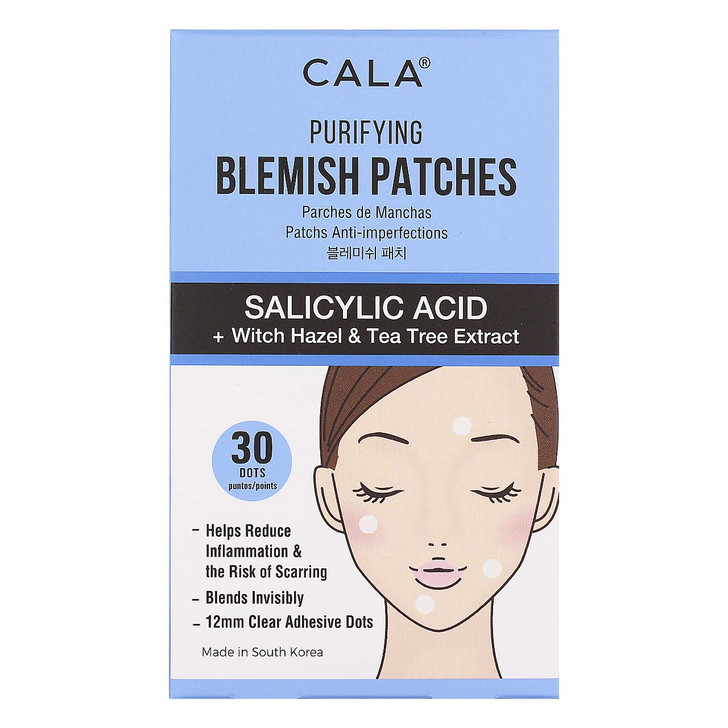 Cala Blemish Purifying Patches are specially formulated with Salicylic Acid to help penetrate pores and clear up blemishes.   Salicylic Acid technology extracts pus, oil, and bacteria away from your skin while acting as a protective barrier to promote healing and prevent scarring.  Clear, matte finish and tapered edge seamlessly blend in with all skin tones for invisible coverage that smooths breakouts any time of day.
